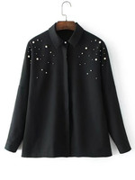 Blouse New Women Long Sleeve Solid Button Up Pearl Faux Embellished Pearl Shirt Office Casual Tops