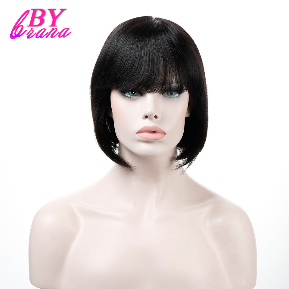 Bybrana None Lace Human Hair Wigs Bob Style Short Straight Remy Brazilian Hair for Women ...