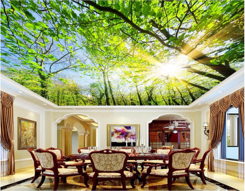 Купить с кэшбэком Custom photo 3d ceiling murals wall paper Contracted the sky tree decoration painting 3d wall murals wallpaper for walls 3 d