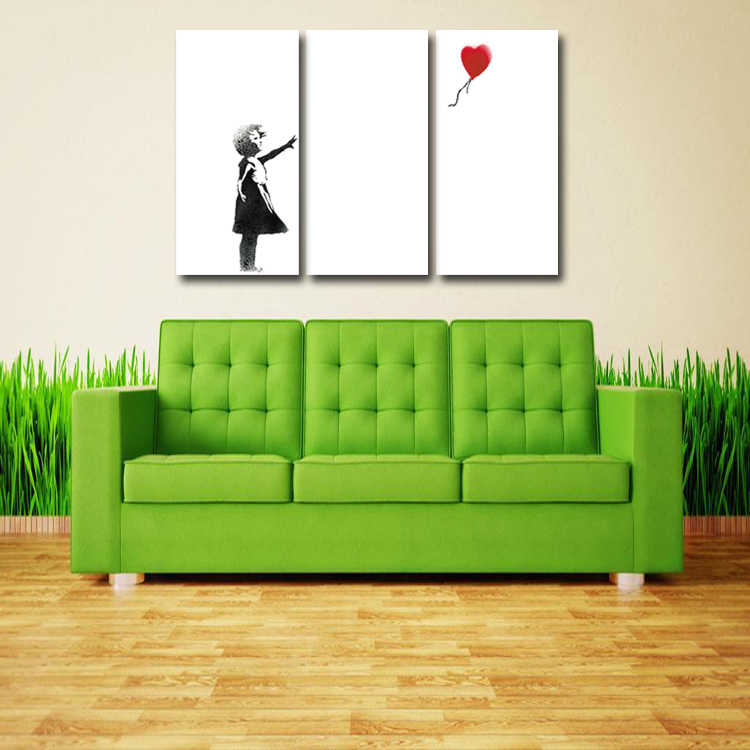 3 Pcs/Set Artist Canvas Abstract Balloon little girl poster Canvas Prints Wall Pictures for Living Room Picture/Abstract (103)