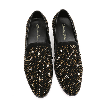 Flats With Rhinestones   Christia Bella New Gold Rivet Rhinestones Men Loafers Luxury Party Banquet Dress Shoes Men Smoking Slippers Male Flats Slip On
