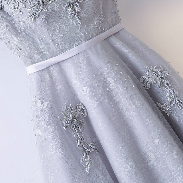 Formal Silver Prom Dresses Long 2018 Prom Dress Custom Made Scoop Tulle Beading Lace Up Women Evening Party Gown Fast delivery