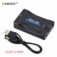 Kebidu 1080P SCART naar HDMI Converter Video Audio Adapter Upscale AV Signaal Adapter HD Ontvanger TV DVD HDMI naar SCART + USB Kabel