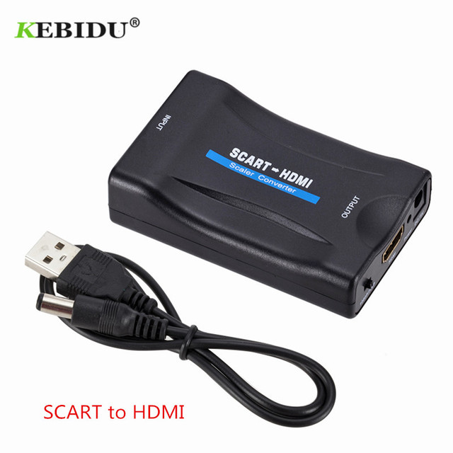 Kebidu 1080P SCART to HDMI Converter Video Audio Adapter Upscale AV Signal Adapter HD Receiver TV DVD HDMI to SCART + USB Cable
