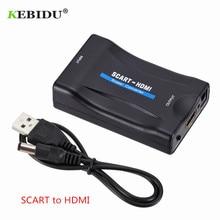 Kebidu 1080P konwerter SCART do HDMI Adapter Audio wideo ekskluzywny AV Adapter sygnału HD odbiornik TV DVD HDMI do SCART + kabel USB