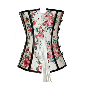 Image 3 - Floral Gothic Women Corset With Chains Slimming Waist Trainer Flower Print Overbust Shapewear Corselet Bustier Lady Shapers