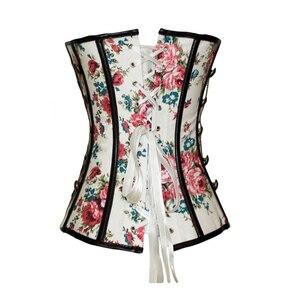 Image 3 - Çiçek gotik kadın korse ile zincirler zayıflama bel eğitmen çiçek baskı Overbust Shapewear korse büstiyer bayan şekillendirme