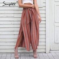 Simplee High Split Stripe Wide Leg Pants Women Summer Beach High Waist Trousers Chic Streetwear Sash