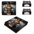 Jack daniels ps4 slim piel de la etiqueta engomada para sony ps4 playstation 4 adelgaza la consola y 2 controladores de pegatinas