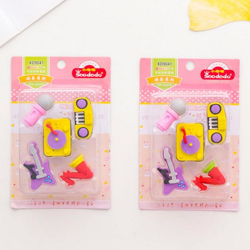 5 Pcs/set Musical Instruments Eraser Microphone Guitar Rubber Eraser Kawaii Stationery School Supplies Papelaria Kids Gifts