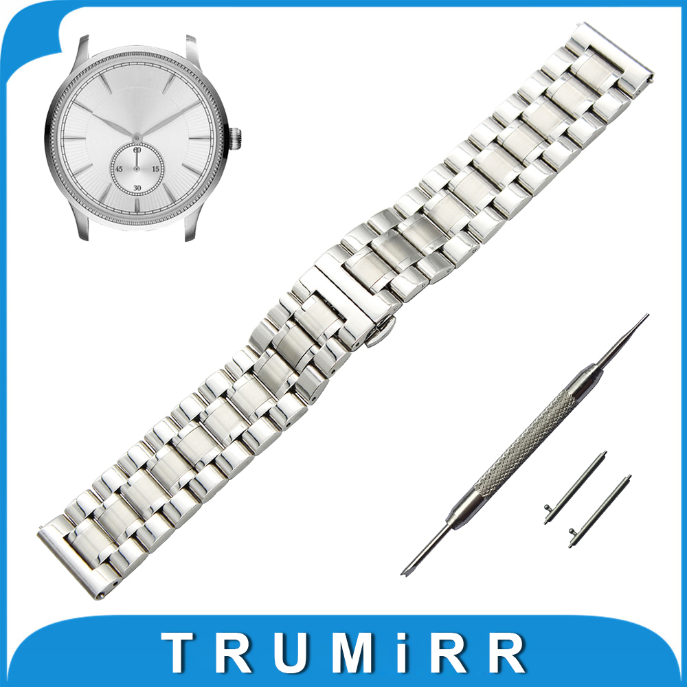 20mm 22mm Stainless Steel Watch Band for Armani Quick Release Strap Butterfly Buckle Wrist Belt Bracelet Black Silver Grey +Tool stainless steel watch band 20mm 22mm for cartier butterfly buckle strap quick release loop belt bracelet black silver tool