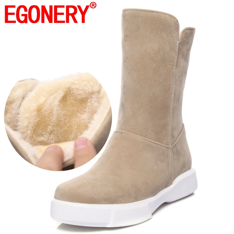 EGONERY Women Shoes Snow Boots Woman Simple Style Round Toe Low Heel Warm Shoes Winter Thick Plush Inside Ladies Mid Calf Boots