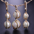 Exquisite Simulated Pearl Wedding Jewelry Sets Pendant Necklace &Drop Earrings Women Girls Gold Plated Collana Brincos Schmuck