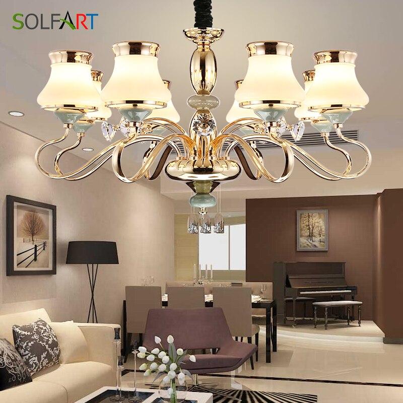 SOLFART светильник люстра освещение для спальни Гостиная кулон Стекло тени шампанское светодио дный люстры свет TJ6655
