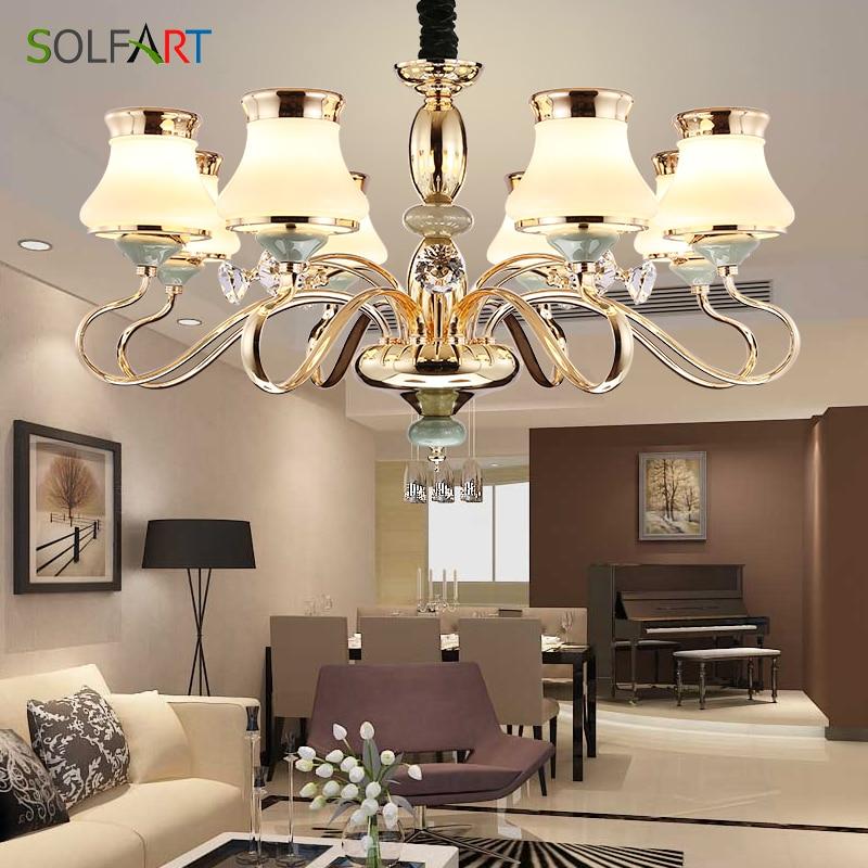 SOLFART Lampe Lustre éclairage pour chambre Salon Pendentif En Verre Ombre Champagne led lustres lumière TJ6655