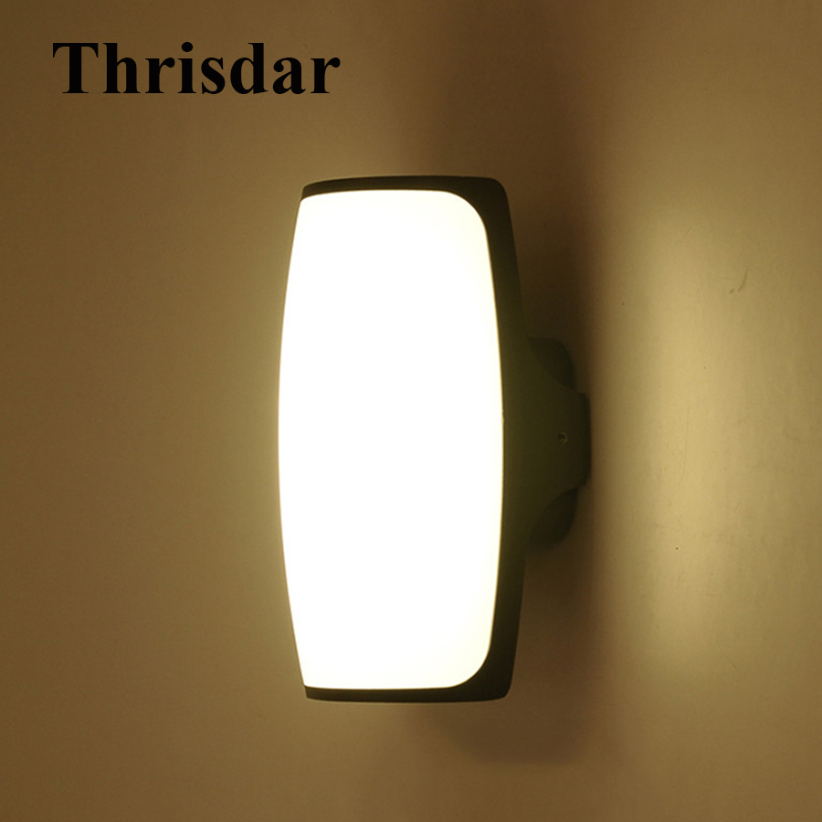 Thrisdar 9W Waterproof LED Wall Lamps Outdoor Garden Corridor Porch Light Bathroom Hotel Villa Balcony Gateway Wall Light thrisdar 20w ip65 waterproof wall lamps 40leds outdoor garden porch wall sconce lamp corridor garden hotel pathway porch light