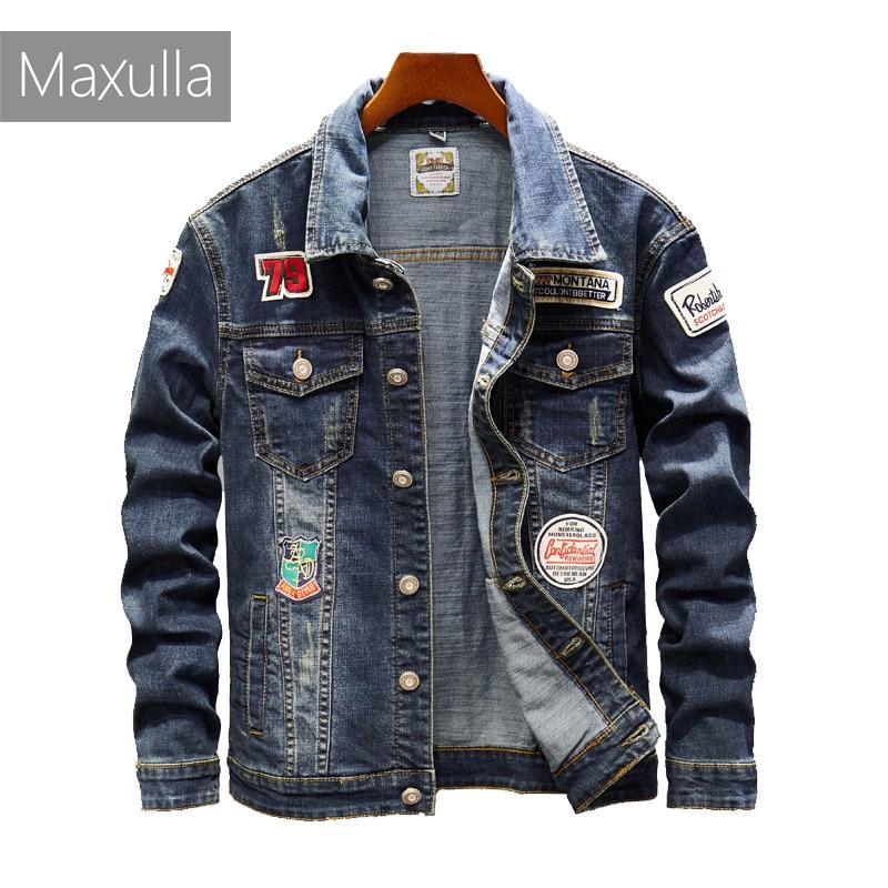 Maxulla denim jackets men original Spring jean jackets patchwork streetwear stylish Hip Hop denim jacket men street wear Mla026
