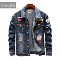 Maxulla denim jackets men original Spring jean jackets patchwork streetwear stylish Hip Hop denim jacket men street wear Mla026