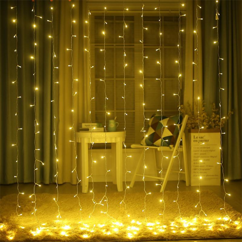AC110-220V Led Icicle Curtain String Lights 4.5Mx0.5M/1M/2M/3M/6Mx3M LED Christmas Fairy Light Garland Indoor/outdoor Decoration