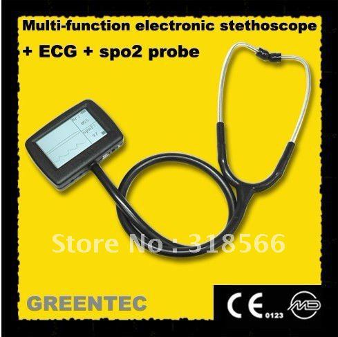Multi-Function Visual Electronic Stethoscope+ ECG + SPO2 Probe Stethoscope multi function portable electronic stethoscope ecg spo2 for patient care doctor use healthcare and clinical test monitor