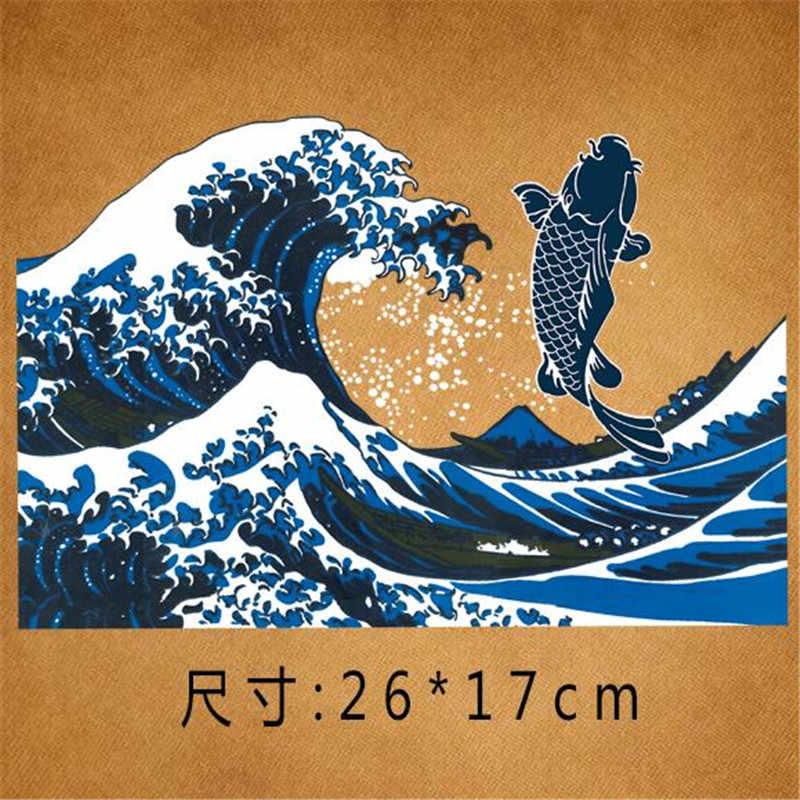 中国ストリートアイコン女性男性服26センチ魚鉄で転送印刷パッチ用服tシャツパッチdiyステッカー