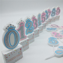 Numarası 0 1 2 3 4 5 6 7 8 9 mumlar Shinning gümüş pembe mavi taç mumlar çocuklar için kız erkek doğum günü partisi kek süslemeleri