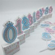 Numero 0 1 2 3 4 5 6 7 8 9 Candele Shinning Nastro Rosa Blu Corona Candele per I Bambini dei Ragazzi delle ragazze Festa di Compleanno Decorazioni Della Torta