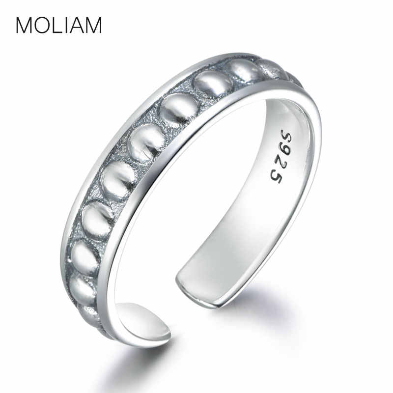 MOLIAM אותנטי 925 כסף סטרלינג פתוח מתכוונן טבעת עבור נשים בציר פשוט אצבע הבוהן טבעת תכשיטים MLRT0049