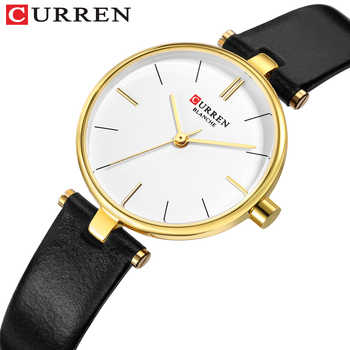 New Fashion CURREN Brand Simple Leather Strap Gold Watches Women Clock Ladies Casual Dress Quartz Wristwatch Reloj Mujer Gift - DISCOUNT ITEM  47 OFF Watches