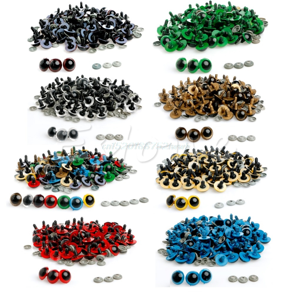 100Pcs 10mm Color Plastic Safety Eyes For Teddy Bear Doll Animal Puppet Crafts Eyes Used For Doll Accessories #T026#