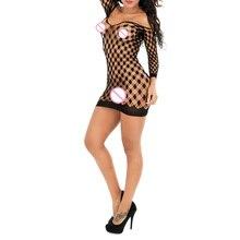 Новая сетчатая эротические костюмы плюс Размеры Для женщин сексуальное женское белье голое плечо ажурные платья женский кукла эластичные Нижнее Бельё для девочек mj-whdl9