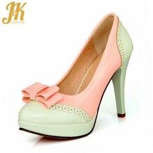 2017 Personalizar 34-43 Zapatos de tacones altos delgados coincidencia de colores Las Mujeres bombas de la manera de la vendimia elegante de La Mariposa-nudo bombas zapato de la Señora