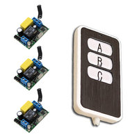 AC 220 V 1 Channel RF Wireless Remote Control 3 Pcs Receivers 1 Pcs Transmitter 3