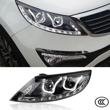 Car Styling Headlights For KIA Sportage 2010 2011 2012 2013 2014 Bifocal lens Guiding light Top quality Free Shipping to Russia
