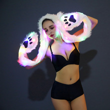 цена на FHILLINUO 2017 LED Faux Fur Hat Light Up Hood Animal Hat Wolf Plush Warm Animal Cap with Scarf Gloves Party Novelty cutehats