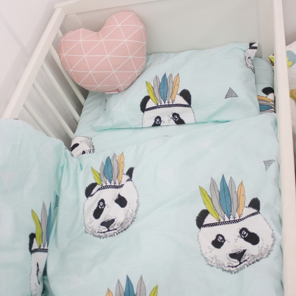 Baby bed sheet pattern - 120 60cm 130 70cm Cute Baby Crib Bedding Set 100 Cotton Included Flat Sheets Baby Bedding Clouds Pine Crown Pattern For Girls