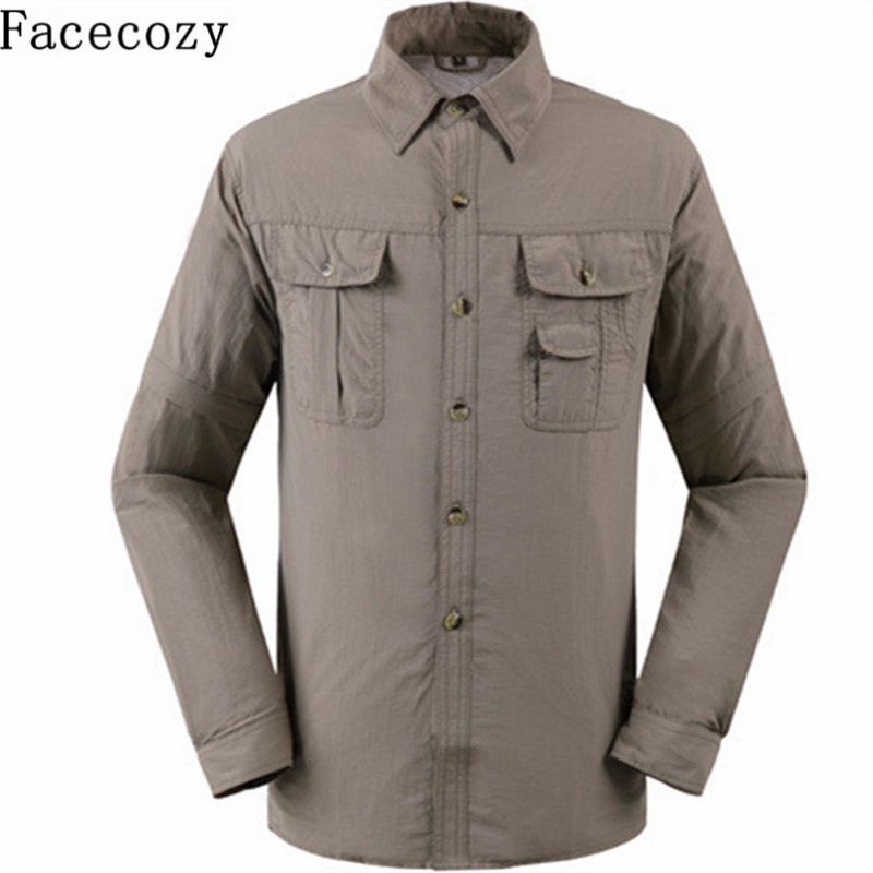 Facecozy Men Summer Outdoor UV Resistant Removable Shirt Turn-  Down   Collar Quick Dry Fishing   Coat   Trekking&Hiking Clothes