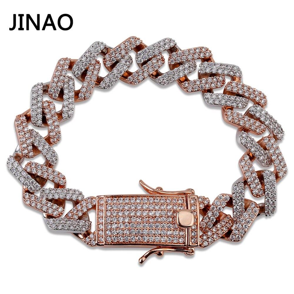 JINAO mode 14mm lien cubain Bracelet Micro pavé AAA cubique Zircon chaîne Bracelet tout glacé charme Hip Hop bijoux pour homme
