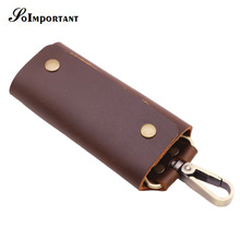 Genuine Leather Key Wallets Female Key Holder Housekeeper Keys Organizer Women Keychain Covers Key Case Bag