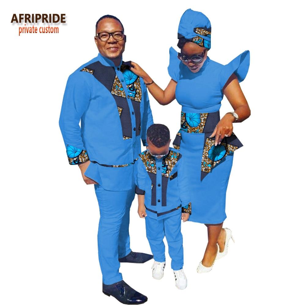 2019 семейная одежда в африканском стиле с принтом AFRIPRIDE, мужской костюм + женское платье до середины икры с шарфом для головы + костюм для маль
