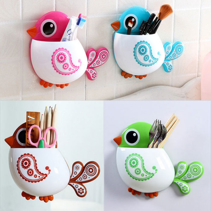 Cute Bird Cartoon Toothbrush Rack Holder Er Suction Hooks Bathroom Set In Accessories Sets From Home Garden On Aliexpress