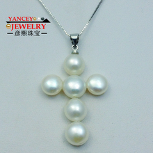 YANCEY Original Natural freshwater pearls Fine jewelry cross Necklaces S925 Silver pendants good luck