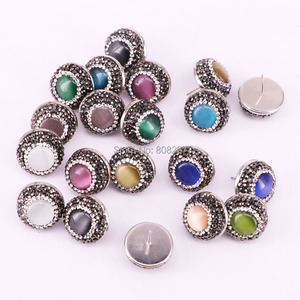 Image 5 - 12Pair Round shape pave crystal rhinestone mix color cat eye stone stud earrings fashion jewelry finding