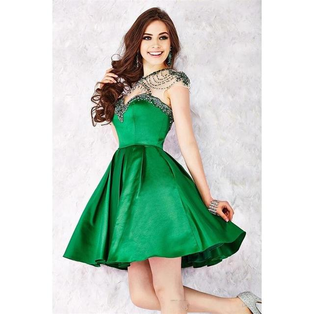 2016 Green Short Homecoming Dresses With Short Sleeve A
