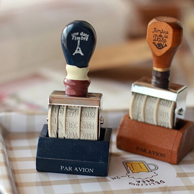 2017 new Vintage date roller wooden handle stamp for scrapbooking special seal adjustable date of postmark stamps new forcummins insite date unlock proramm