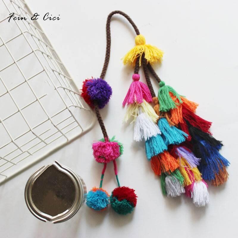 colorful pompon pompom tassels Bohemian for beach straw bag handbag 2017 summer fashion high quality