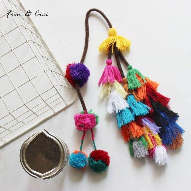 colorful pom pom tassels Bohemian for Purse Accessories Bag Decoration Pendan beach straw bag handbag cloths 2017 summer fashion