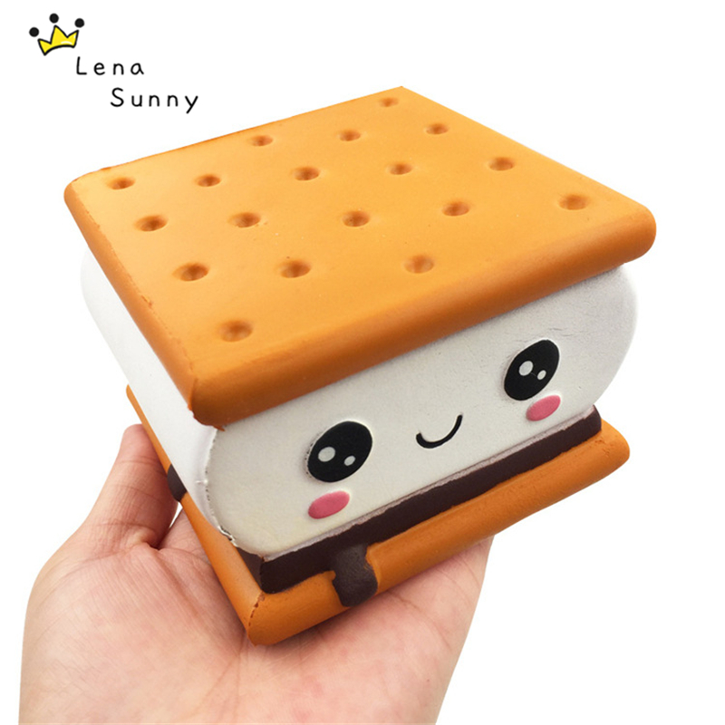 15PC Lot Chocolate Sandwich Biscuit Squishy Slow Rising Squeeze Scented Bread Cake For Kids Pressure Release