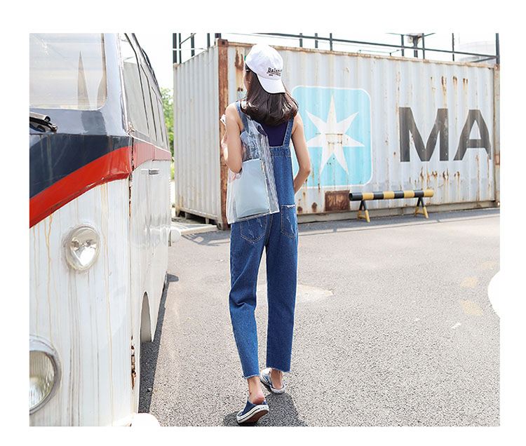 Stylish suspender jeans. College style, casual denim pants. (5)