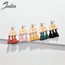 JOOLIM Jewelry Wholesale Pink Yellow Green Black Tassel  Drop Earring Dangle